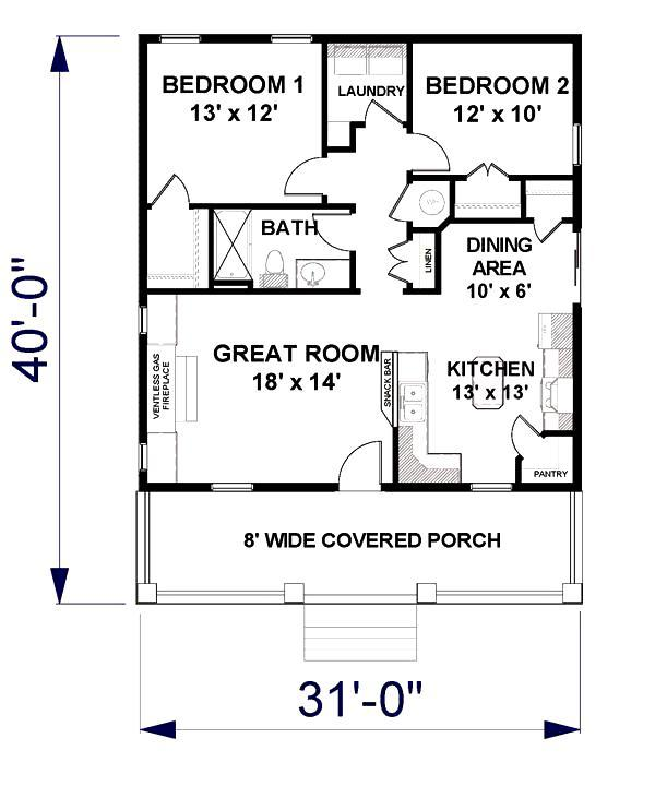 beautiful 2 bedroom 1.5 bath house plans #3: Floor Plan