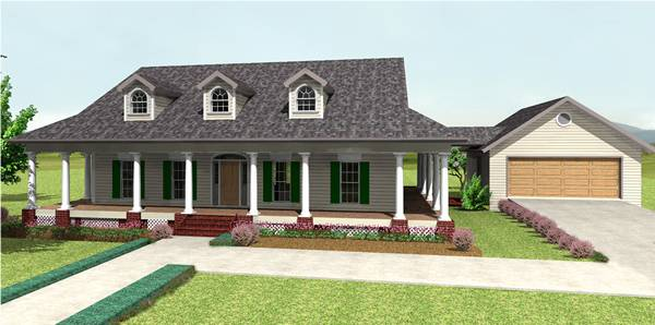View with Garage attached  - example only by DFD House Plans