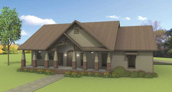 FRONT RENDERING image of Rustic Splendor House Plan