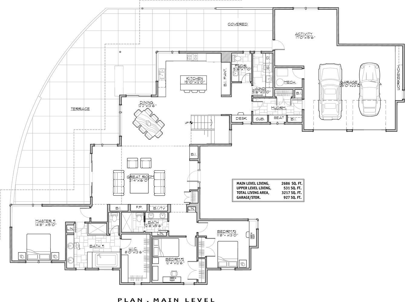 Contemporary house plan with 3 bedrooms and 3 5 baths for 1 5 house plans