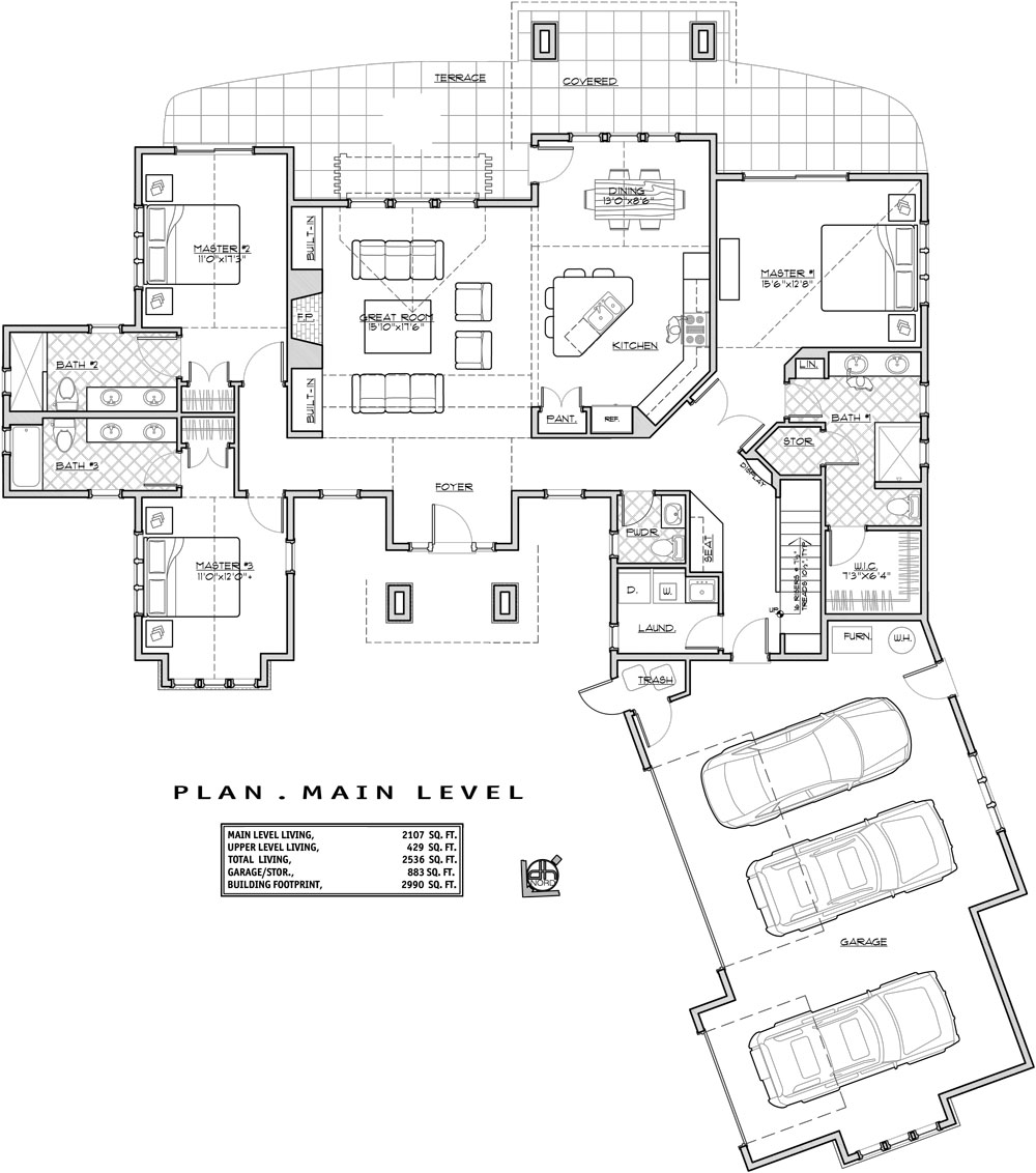 Bungalow House Plan with 3 Bedrooms and 4.5 Baths - Plan 9632