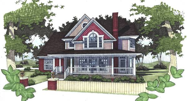 Rendering - Front image of The Victoria House Plan