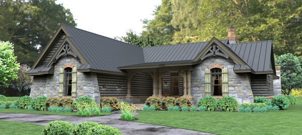 Rendering - Front Right image of Lado del Rio House Plan
