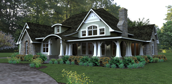 Rendering - Front Right by DFD House Plans