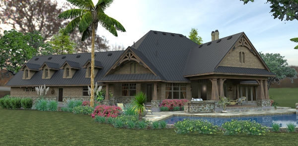 Rendering - Right Rear by DFD House Plans
