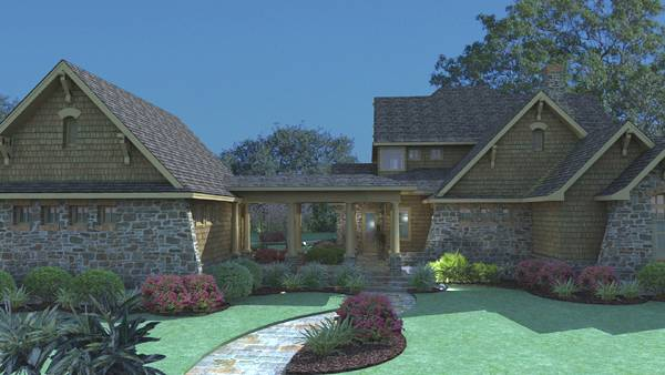 Rendering - Rear image of Vida Carinosa House Plan