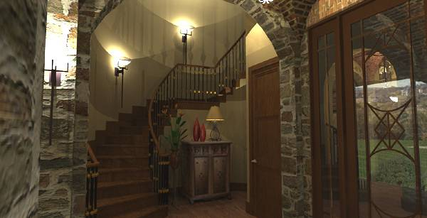 Interiors - Foyer to Stair by DFD House Plans