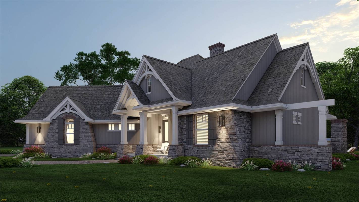 Featuring Eldorado Stone Accents and Ply Gem® Shutters image of L'Attesa Di Vita II House Plan