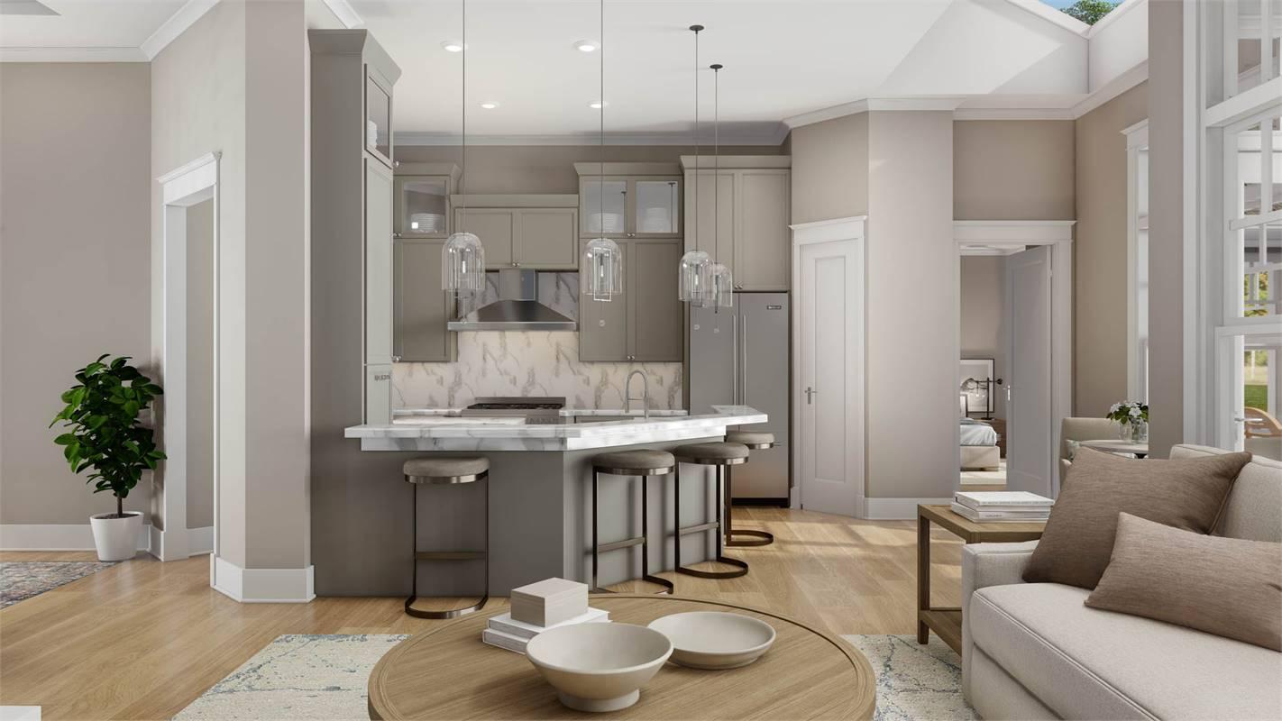 Kitchen & Living Room image of L'Attesa Di Vita II House Plan