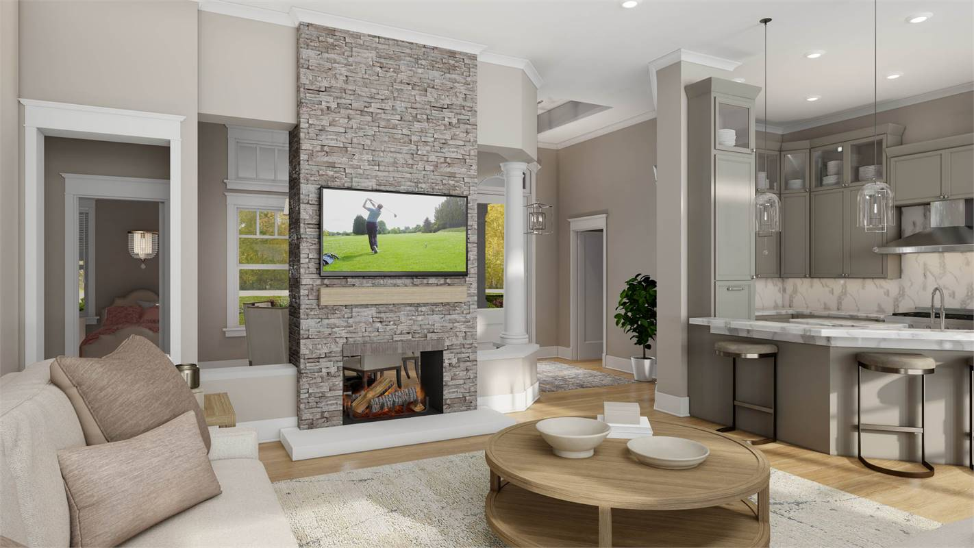 Luxurious Double Sided Fireplace in Living Room & Dining Room image of L'Attesa Di Vita II House Plan