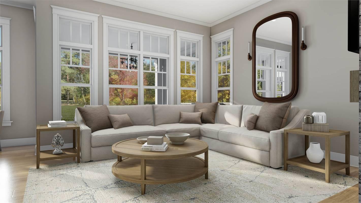 Bright and Spacious Living Room image of L'Attesa Di Vita II House Plan
