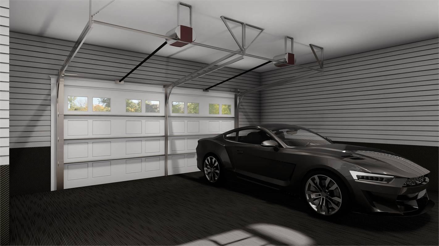 Garage featuring Clopay® Coachman Garage Doors image of L'Attesa Di Vita II House Plan
