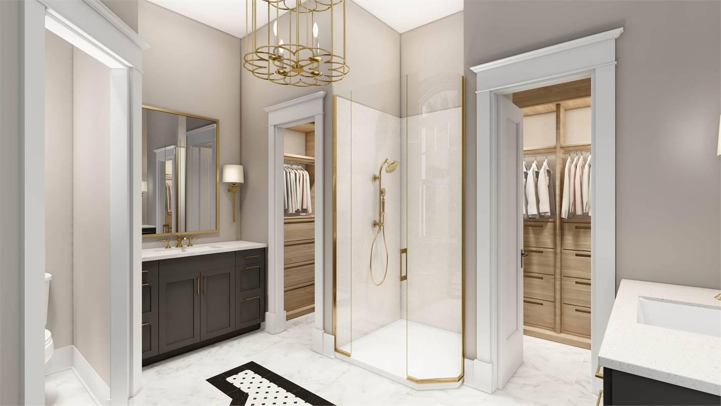 Master Bath with Custom Walk-In Closets by Closet Factory image of L'Attesa Di Vita II House Plan