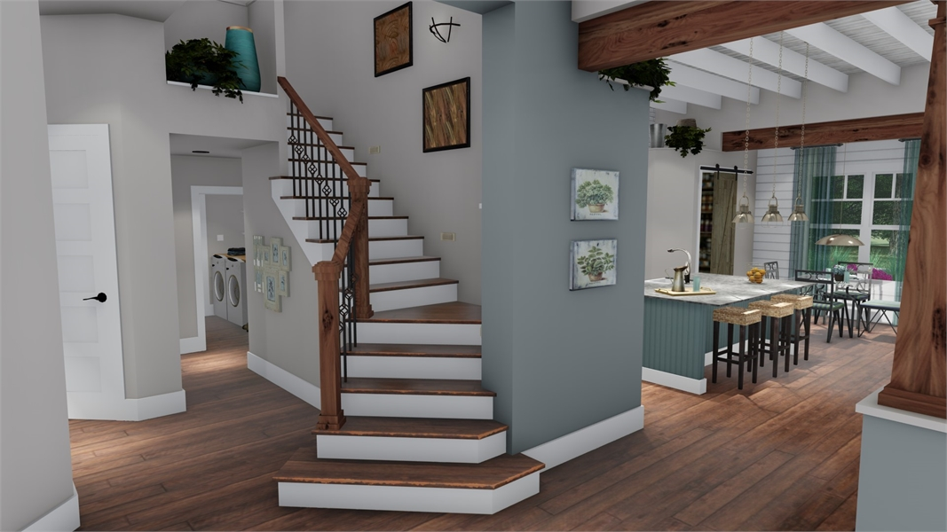 Interiors - Dining to Stair by DFD House Plans