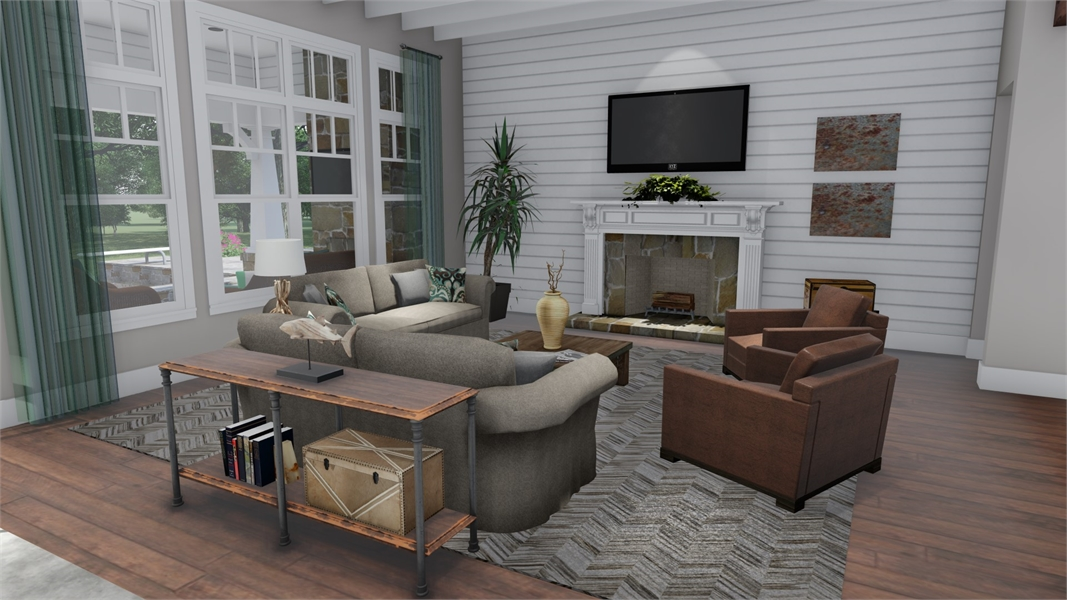 Interiors - Family to fireplace by DFD House Plans