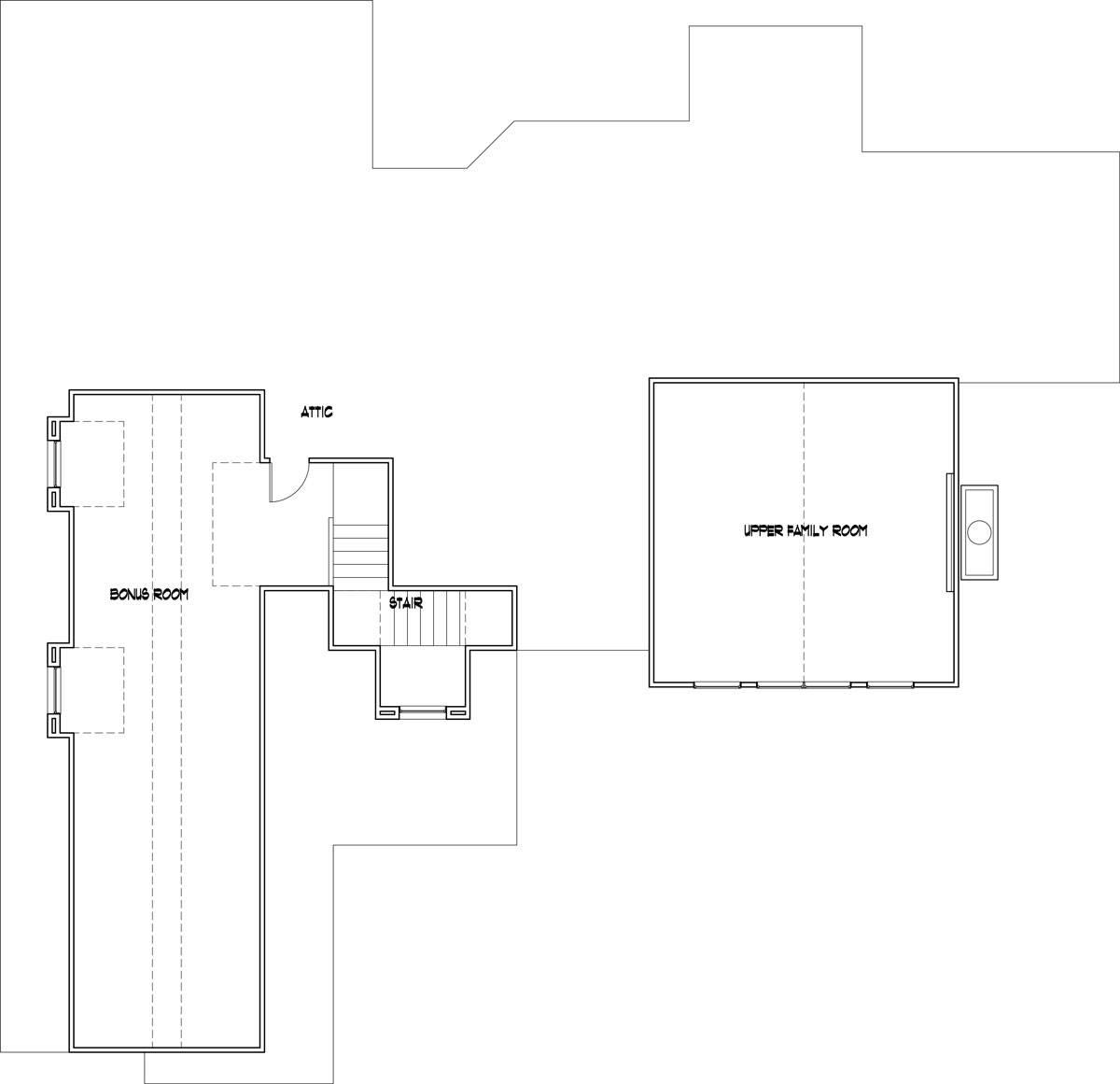 Bonus above 3-car garage by DFD House Plans