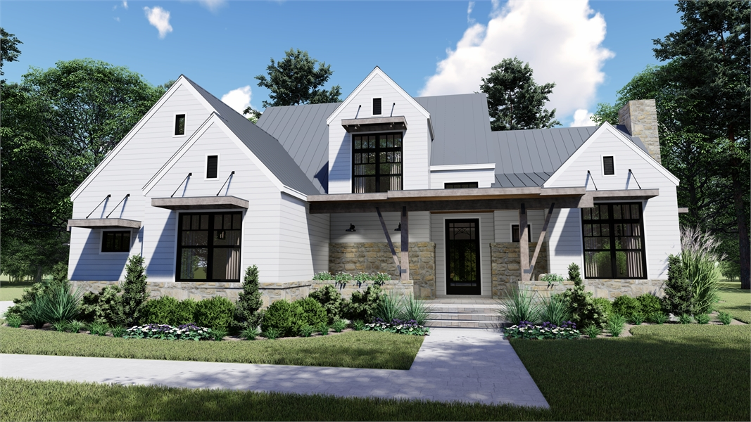 Front Rendering image of Rolling Wood Hills House Plan