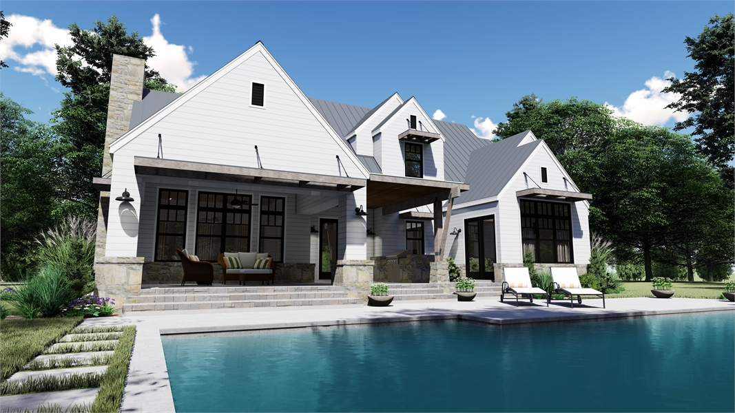 Rear Photo image of Rolling Wood Hills House Plan