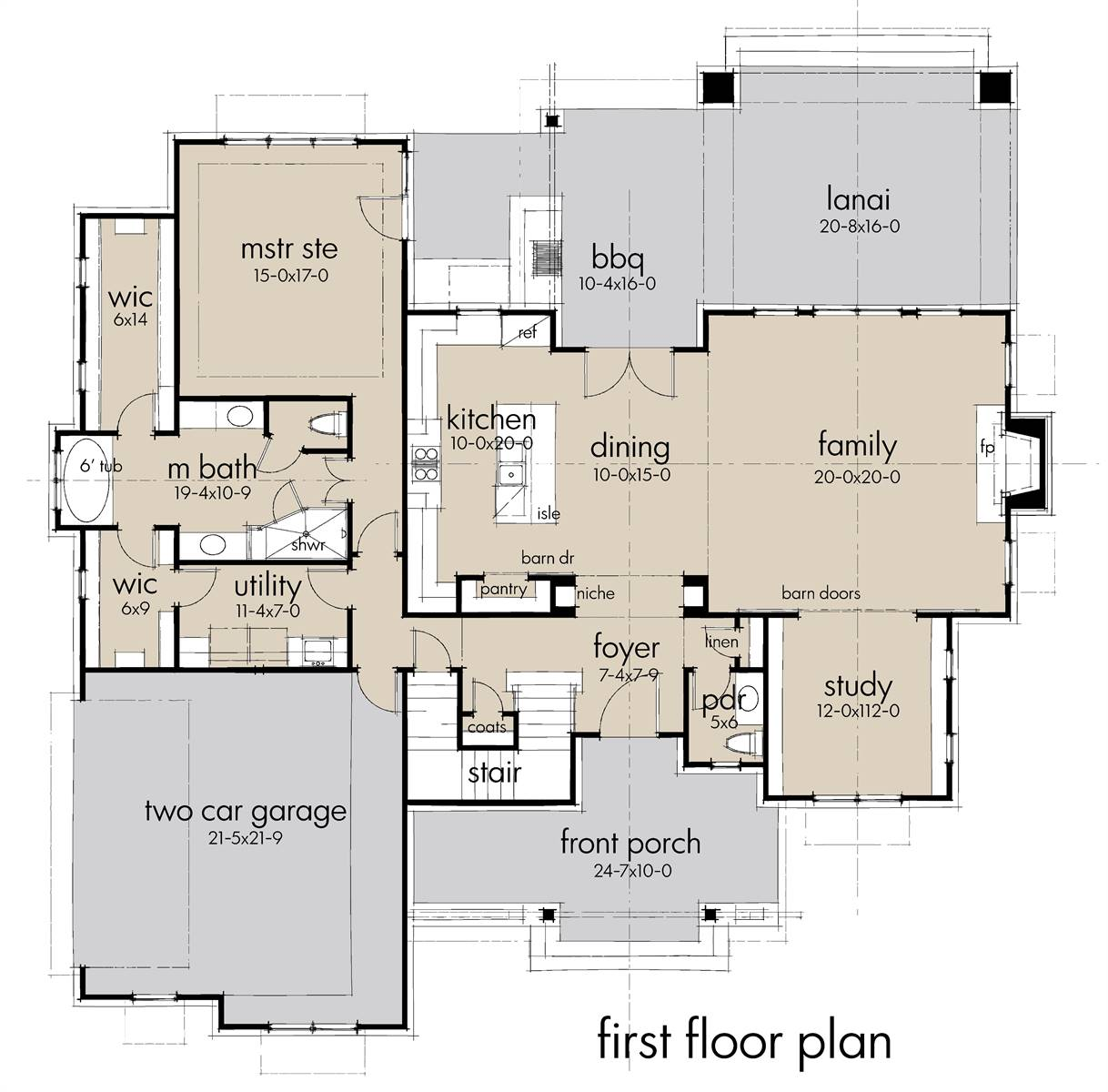 First Floor Plan image of Rolling Wood Hills House Plan