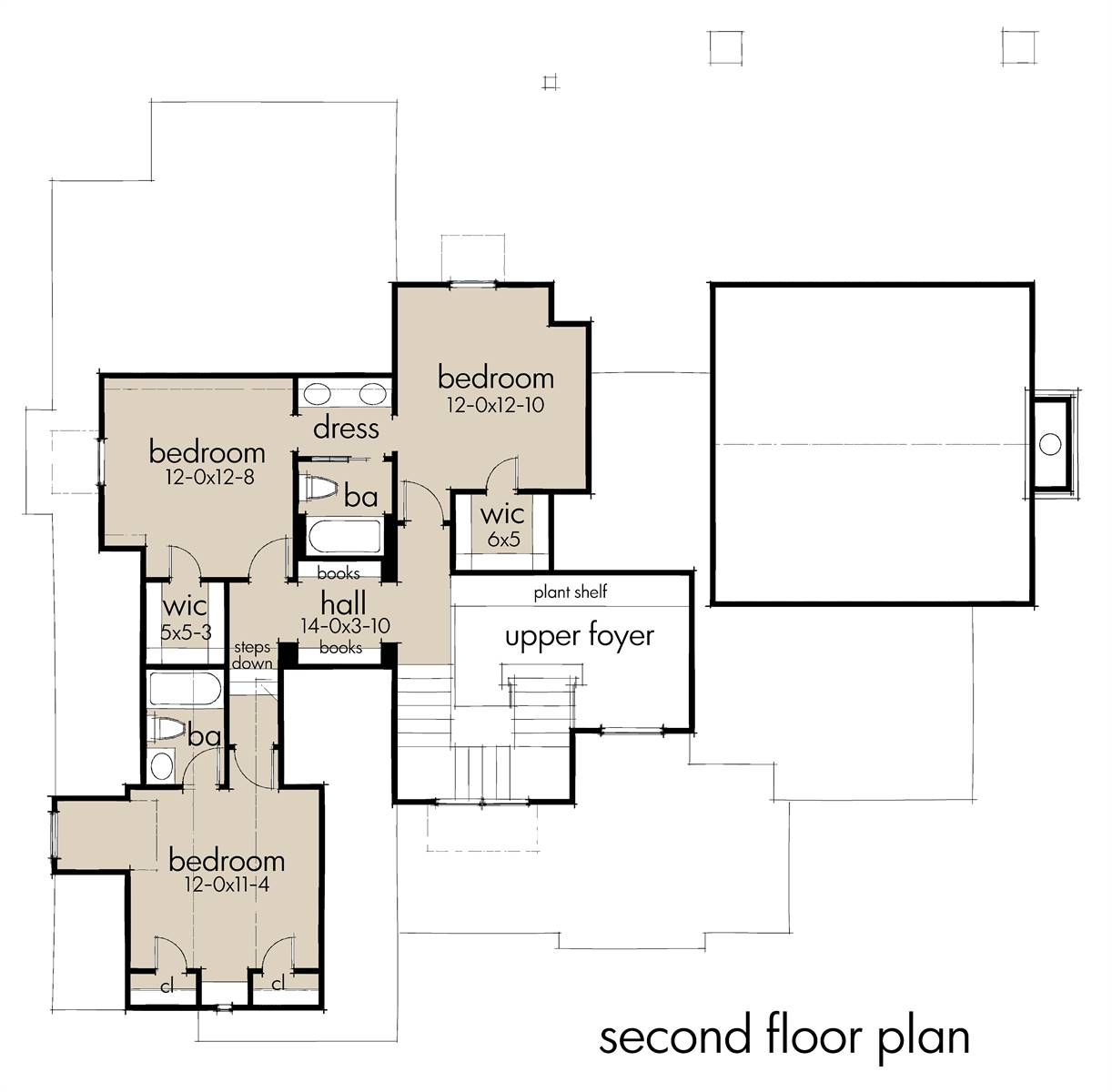 Second Floor Plan image of Rolling Wood Hills House Plan