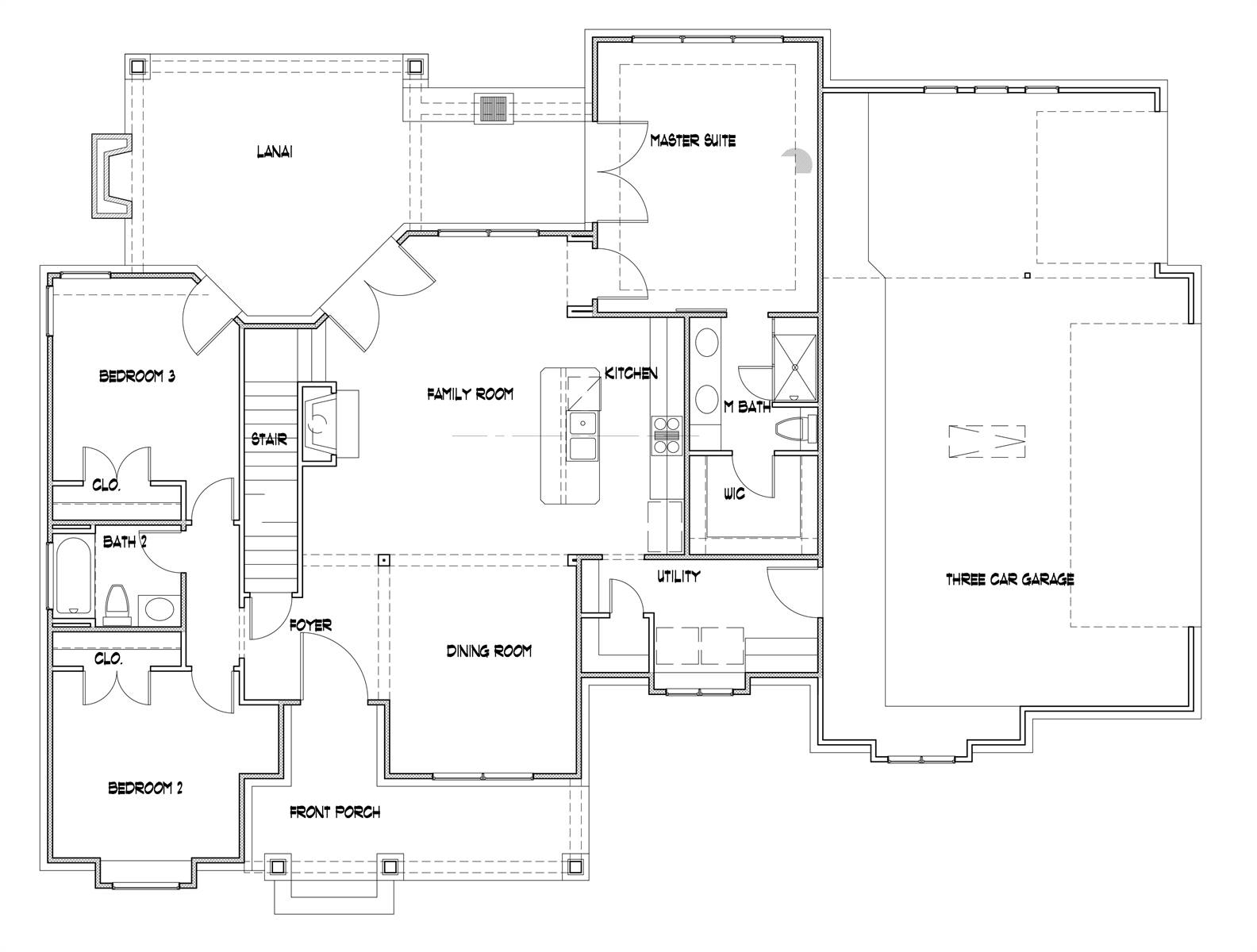 3-car option by DFD House Plans