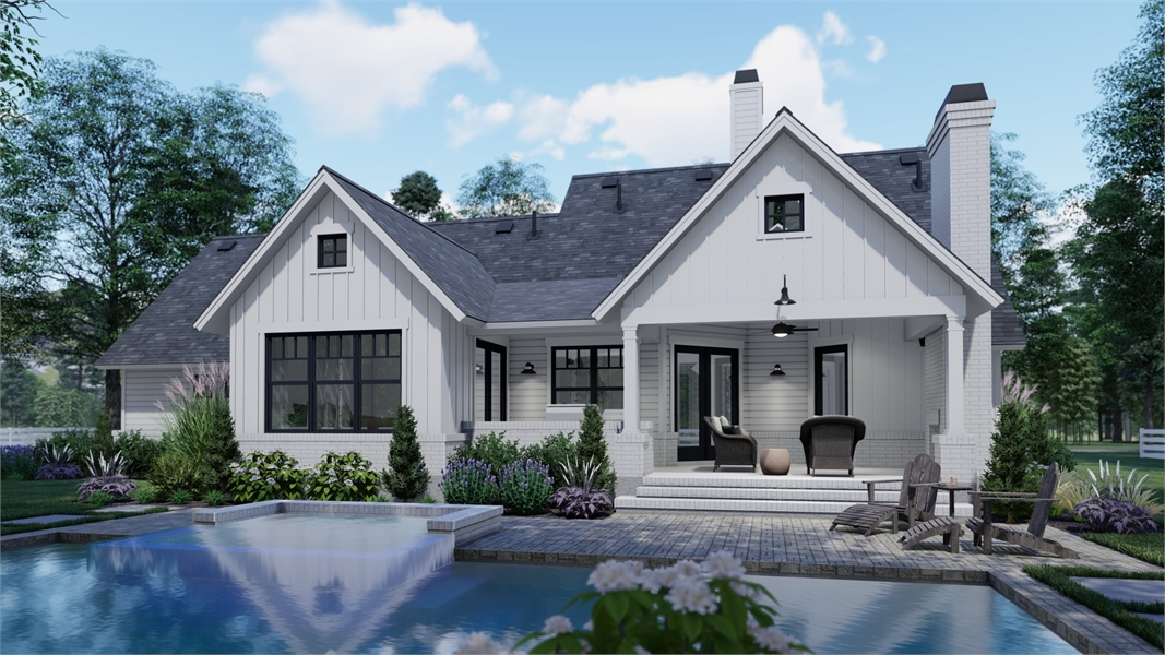 Pool View image of High Meadow Cabin House Plan