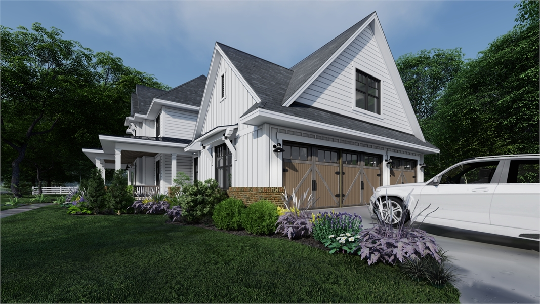 Side rendering with 3-car garage