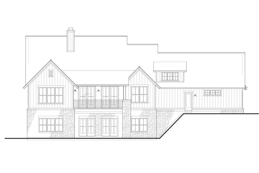 Rear elevation of the walkout basement by DFD House Plans
