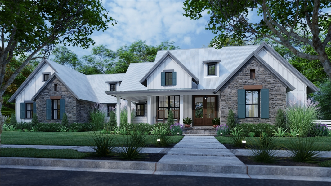 Front rendering showing 3-car garage option by DFD House Plans