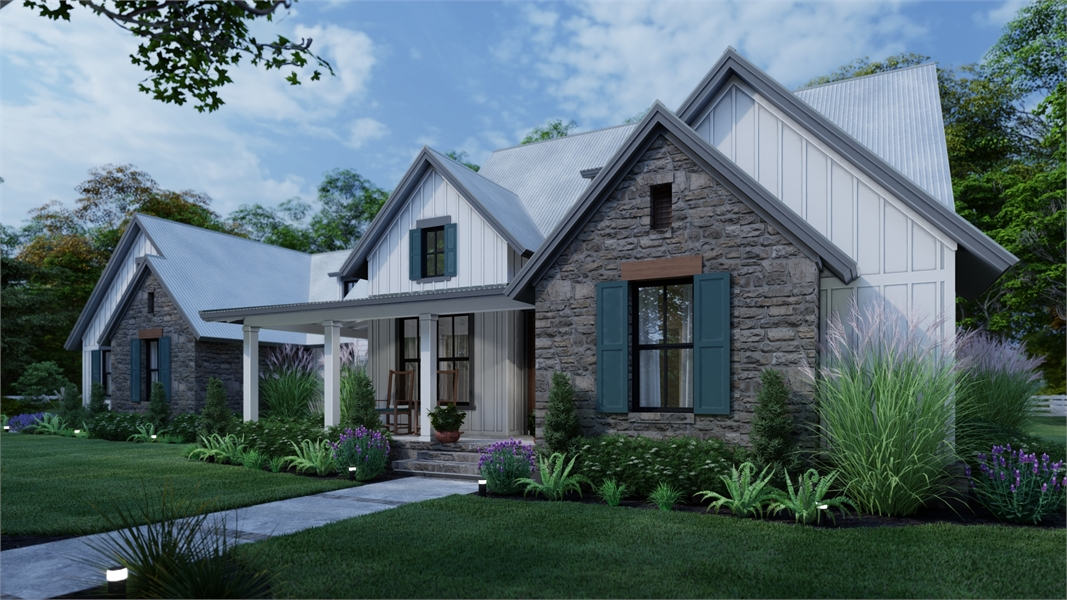 Front rendering w/3-car option by DFD House Plans