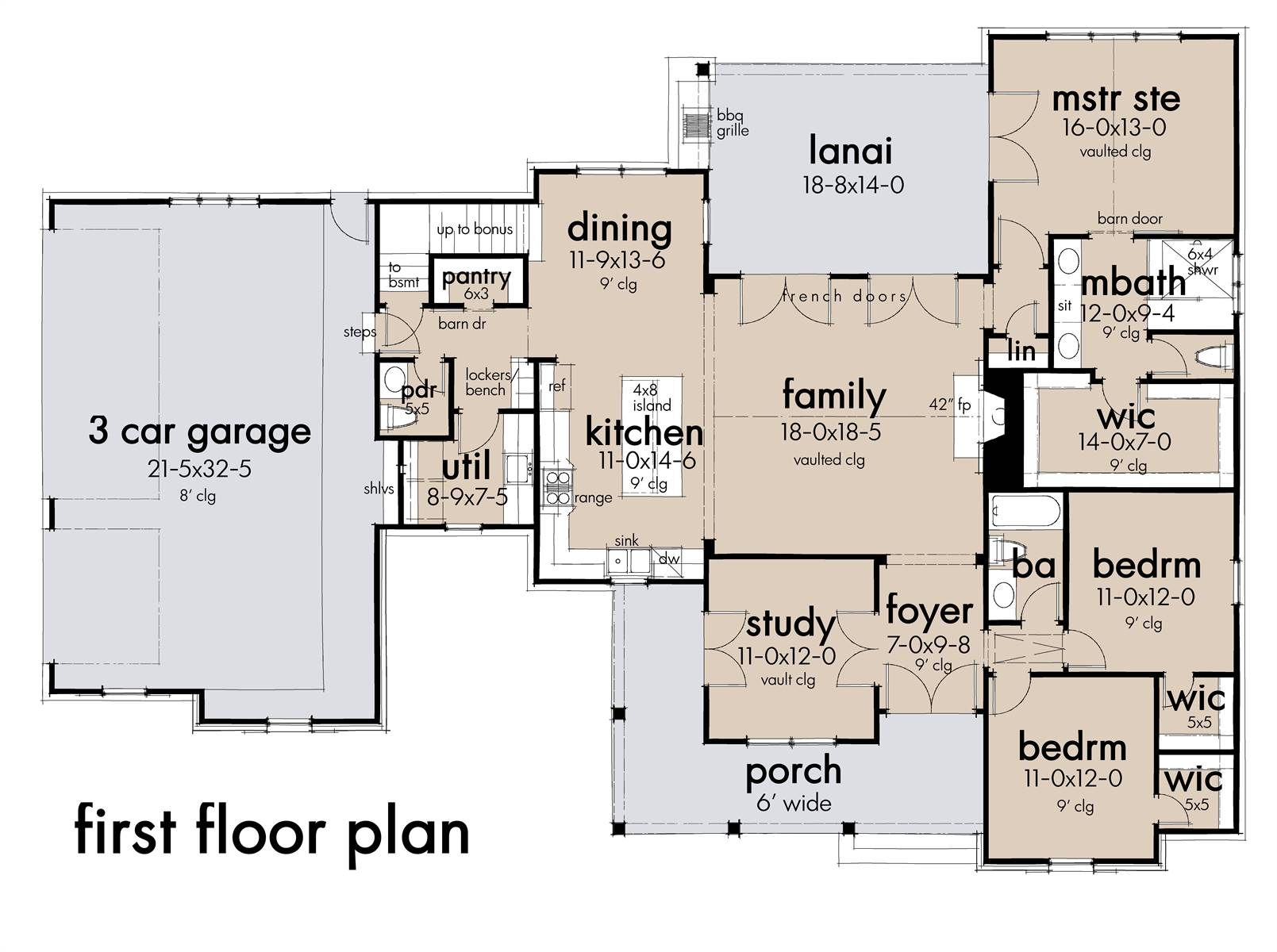 First floor plan: 3 Car Option