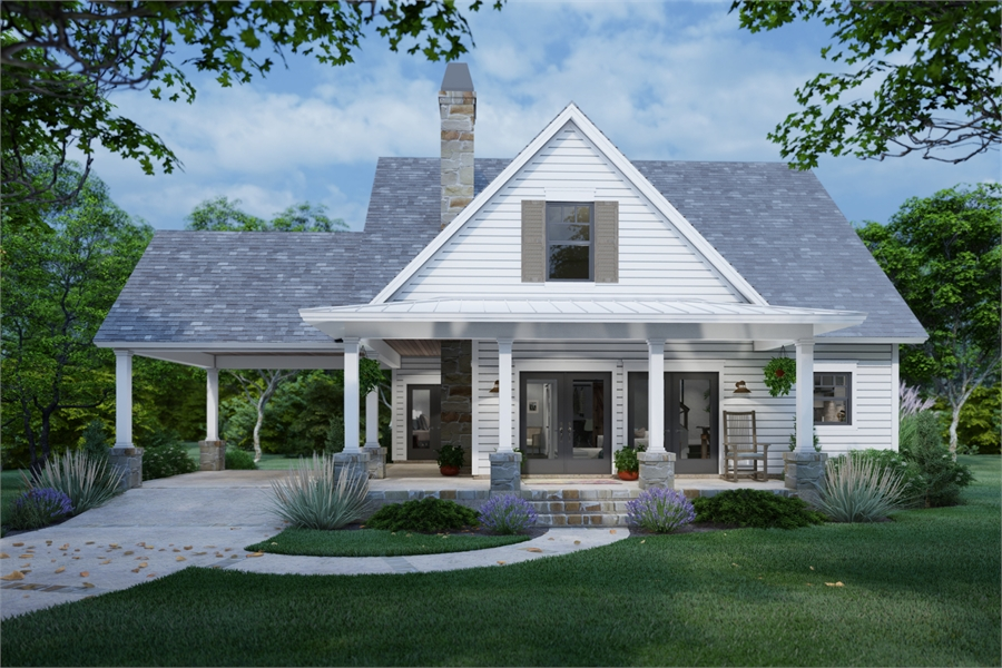 Front View image of San Gabriel Cabin House Plan