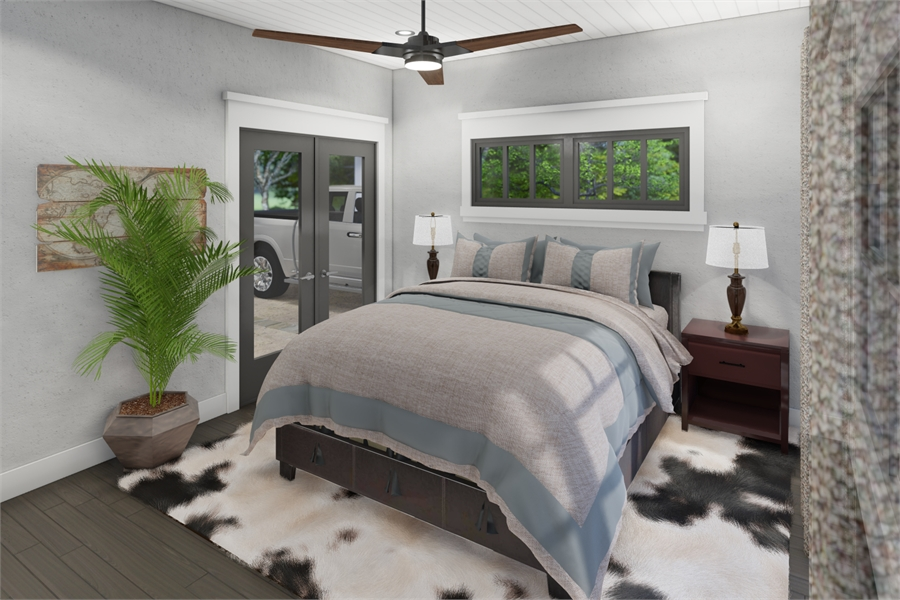 Master Bedroom image of San Gabriel Cabin House Plan