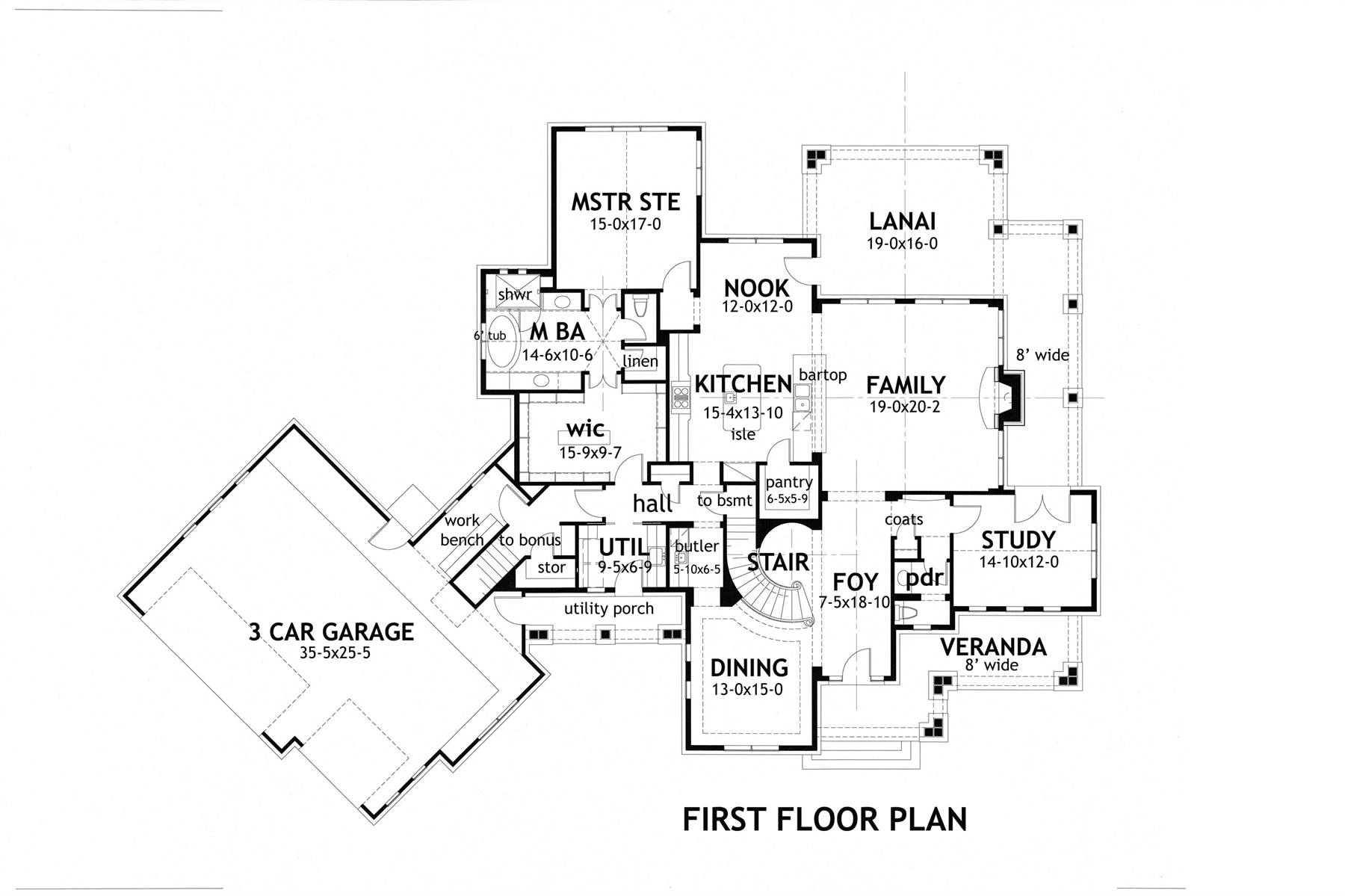 1st Floor image of Crystal Falls House Plan