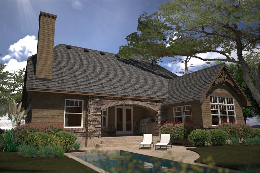 Rear Rendering image of L'Casa Stretta House Plan