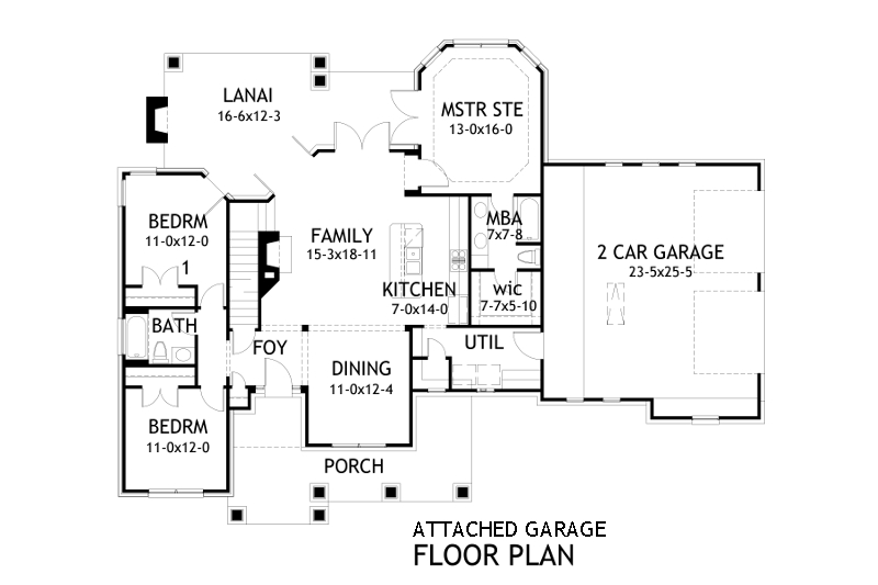 Attached Garage Plan by DFD House Plans