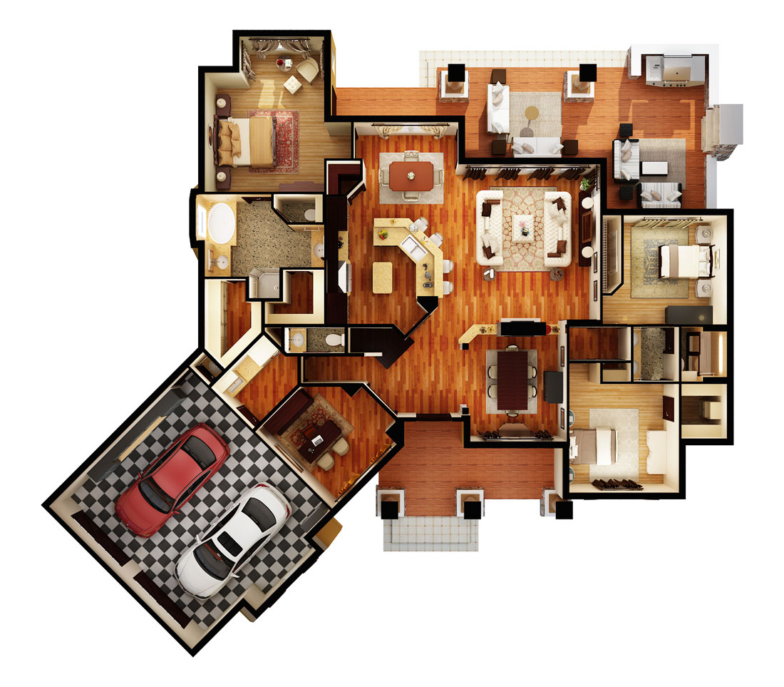 First Floor Plan (3d) image of L'Attesa di Vita House Plan
