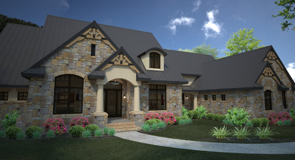 Rendering - Front Left image of L'Accettazione House Plan