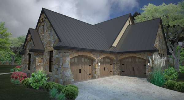 Rendering - Front Right image of L'Accettazione House Plan