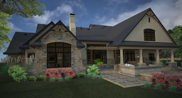 Rendering - Right Rear image of L'Accettazione House Plan