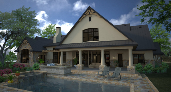 Rendering - Rear image of L'Accettazione House Plan