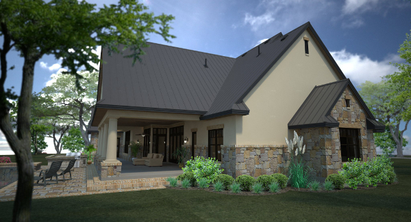 Rendering - Left Rear image of L'Accettazione House Plan