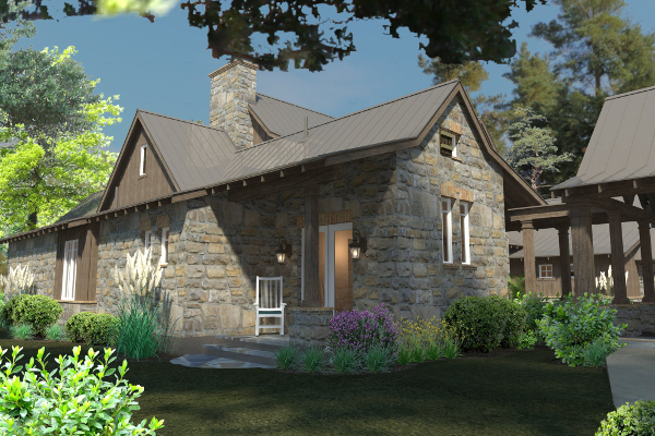 Rendering - Front Left by DFD House Plans
