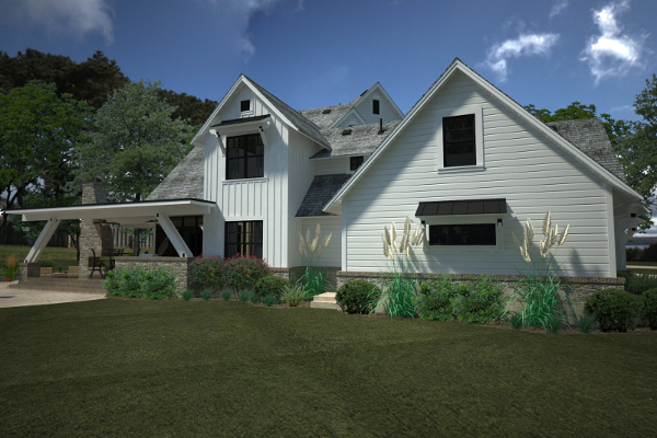 Rendering - Left Rear by DFD House Plans