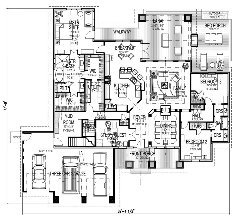 First Floor Plan w/ Bonus Room Stair image of La Casa Bella House Plan