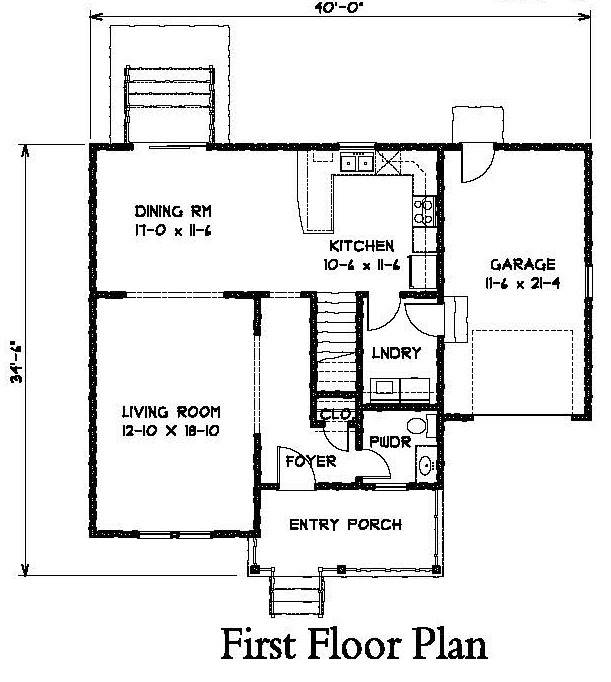 1st Floor Plan image of Carpenter IV House Plan
