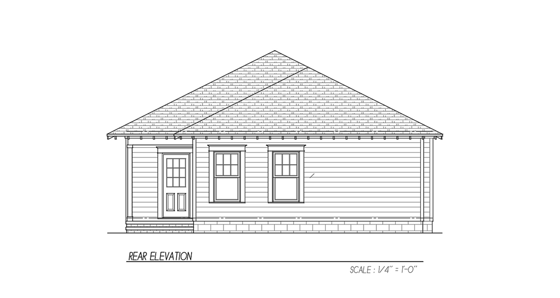 Rear Elevation image of Oakwood 31 House Plan