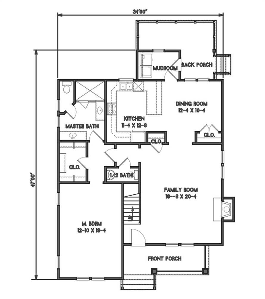 1st Floor Plan image of Country Roads House Plan