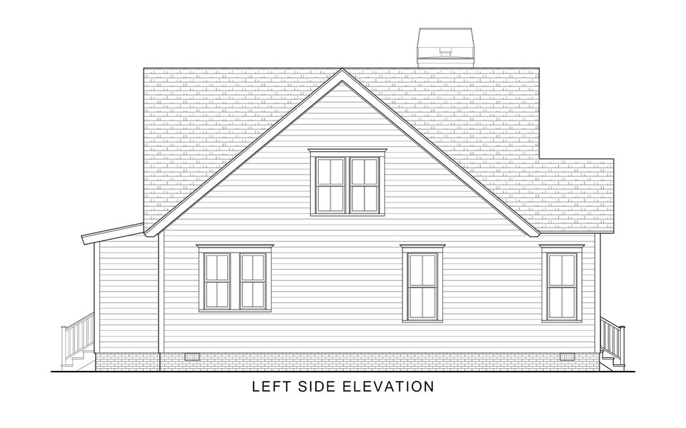Left Elevation image of Country Roads House Plan