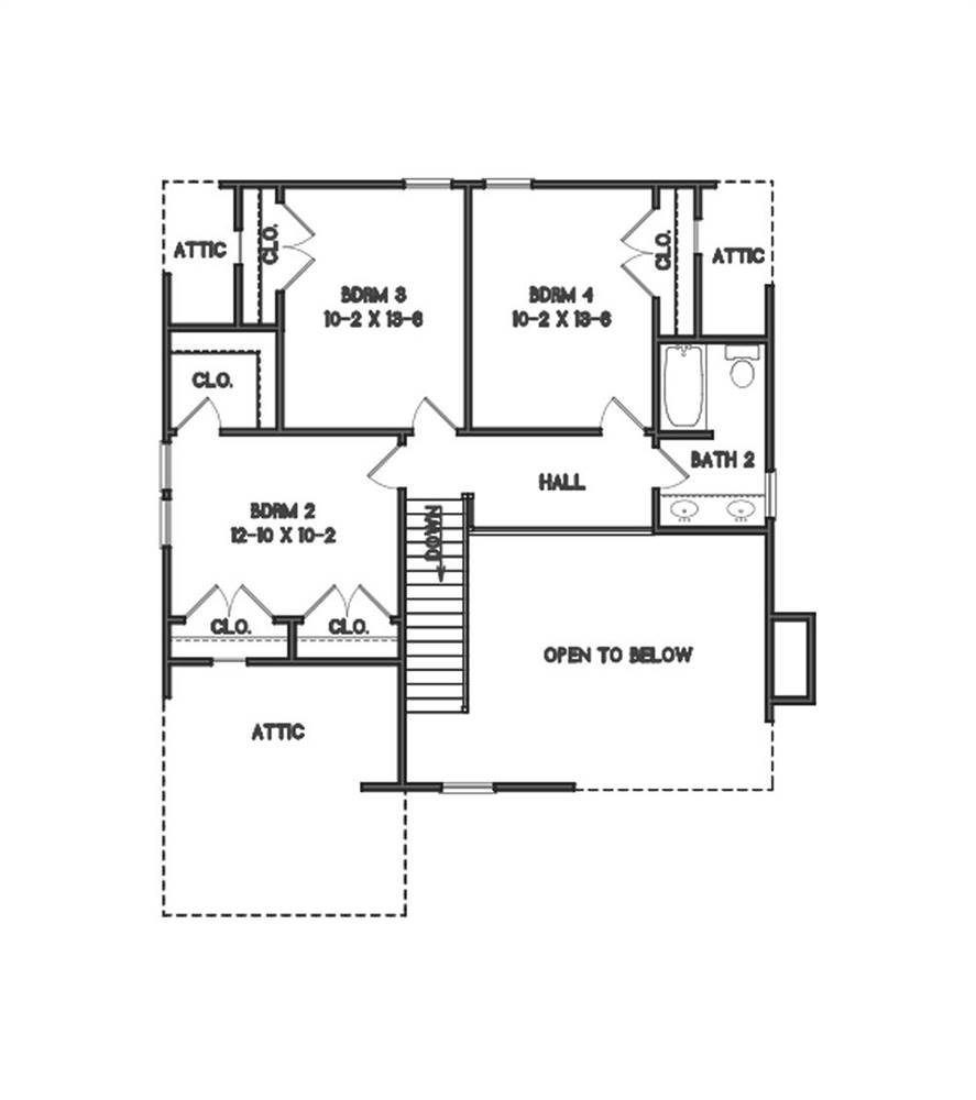 2nd Floor Plan image of Country Roads House Plan
